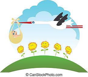 Stork bringing a child - Illustration of stork bringing baby...