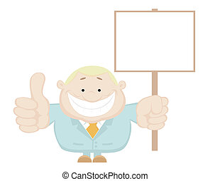 Vector businessman holding blank sign Separate layers