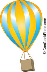 Hot Air Ballon - yellow and blue hot air balloon with a...