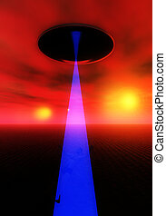 Alien Abduction Over Landscape - A UFO that is abducting a...