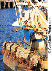details of an old fishing boat, a trawler