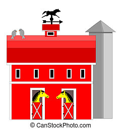 Horse barn and silo - Illustration of a horse barn and silo