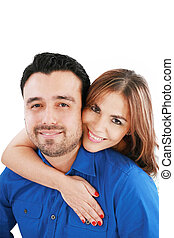 couple portrait smiling with a white background