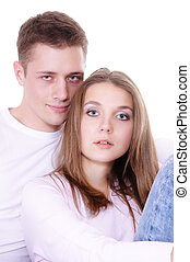 cute young couple - portrait of a cute young couple posing
