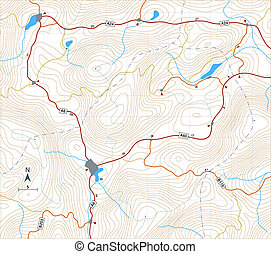 Contour roadmap - Editable vector illustration of a generic...