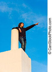 High up - Teenager high up  to see what future is to bring