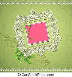 Lace border - illustration of lace border on abstract grungy...