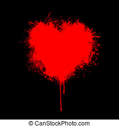 Grungy Heart - illustration of heart made of grunge on black...