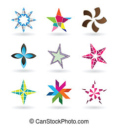 Contemporary Star Icons - A very modern and fresh star icon...
