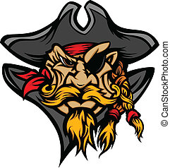 Pirate Mascot with Hat Cartoon Vect - Cartoon Vector Image...