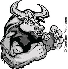 Graphic Vector Image of a Bull Cow - Longhorn Bull Fighting...