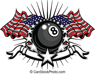 Billiards Eightball Vector Template - Stars and Stripes...
