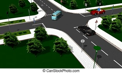 Giving priority to the right - intersection with cars moving...