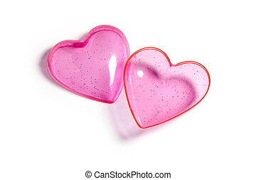 Pink heart with white background, love concept