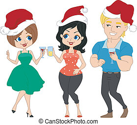 Pinup Christmas Party - Illustration of a Christmas Party...