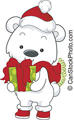 Polar Bear Gift - Illustration of a Polar Bear Holding a...