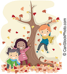 Stickman Autumn Leaves - Illustration of Stick Kids Playing...