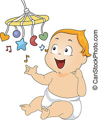 Musical Toy - Illustration of a Baby Playing with a Musical...