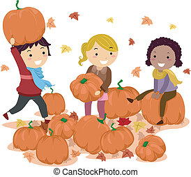 Stickman Pumpkins - Illustration of Stick Kids Playing with...
