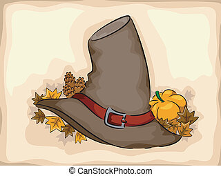 Pilgrim Hat - Illustration of a Pilgrim Hat Surrounded by...