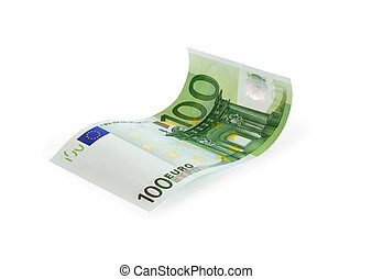 One Hundred Euro Note - Waved one hundred euro note on white...