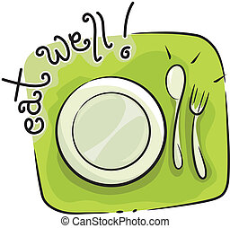 Eat Well - Icon Illustration Featuring Tableware