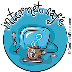 Internet Cafe - Icon Featuring a Computer Monitor and a Cup...