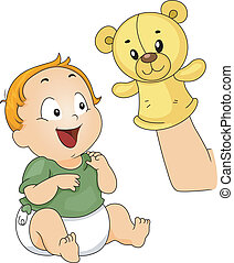 Sock Puppet - Illustration of a Baby Being Entertained with...