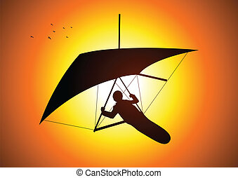 Gliding - Silhouette illustration of a man figure gliding