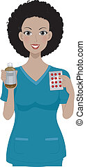 Medicine Girl - Illustration of a Girl Holding Some Medicine...