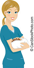 Nurse Holding Baby - Illustration of a Nurse Holding a Baby