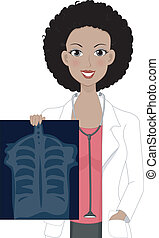 X-ray Girl - Illustration of a Girl Holding an X-ray Result