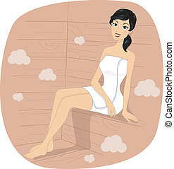 Sauna Girl - Illustration of a Girl in a Sauna