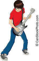 Guitarist - Vector illustration of a man figure playing...