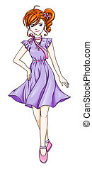 Anime Fashion Girl - A girl in purple dress with anime...