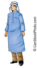 Arabian - A figure in typical Arab clothes, tracing path...