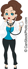Pinup Doctor - Illustration of a Pinup Girl Dressed as a...
