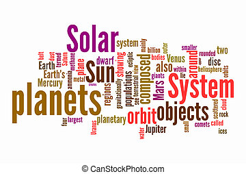 solar word clouds on isolated background