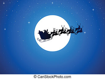 Santa And The Moon - Santa Claus riding his sleigh over the...
