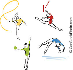 gymnastics collection - women - hand drawing vector eps8