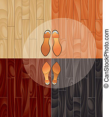 parquet and shoes in spotlight - Can be used for brochures,...