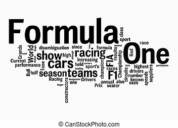 formula one text clouds on isolated background