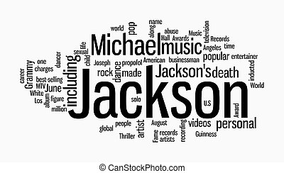 michael jackson word clouds on white background
