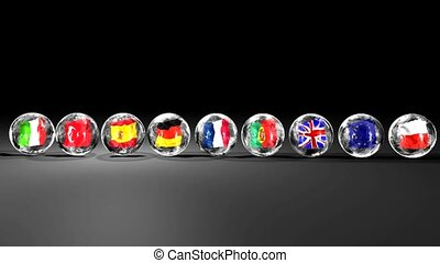 Balls with flags running