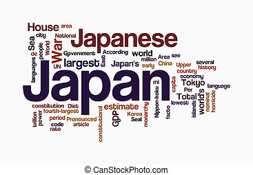 japan word clouds on wthite background