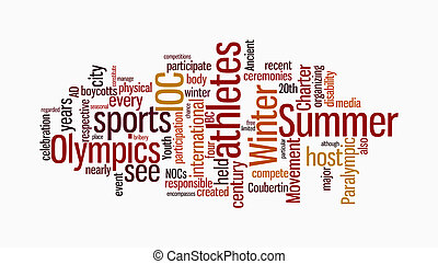 Olympic word clouds on isolated white background