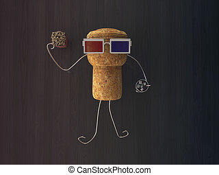cork cap with 3d glasses on the floor