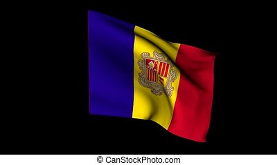 flag of Andorra - Waving flag of the Republic of Andorra, 3d...