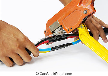 crimping cable - crimping power cable on isolated white...