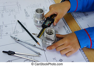 drawing work - technical drawing work with digital calliper